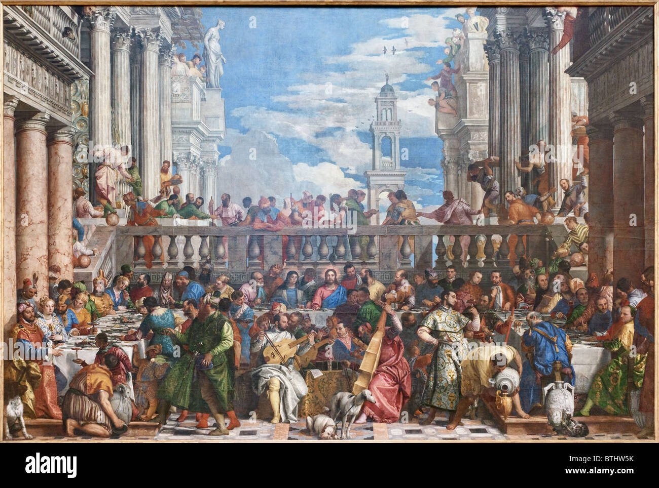 Wedding Feast at Cana Paolo CALIARI VERONESE, Louvre Museum Paris Stock Photo
