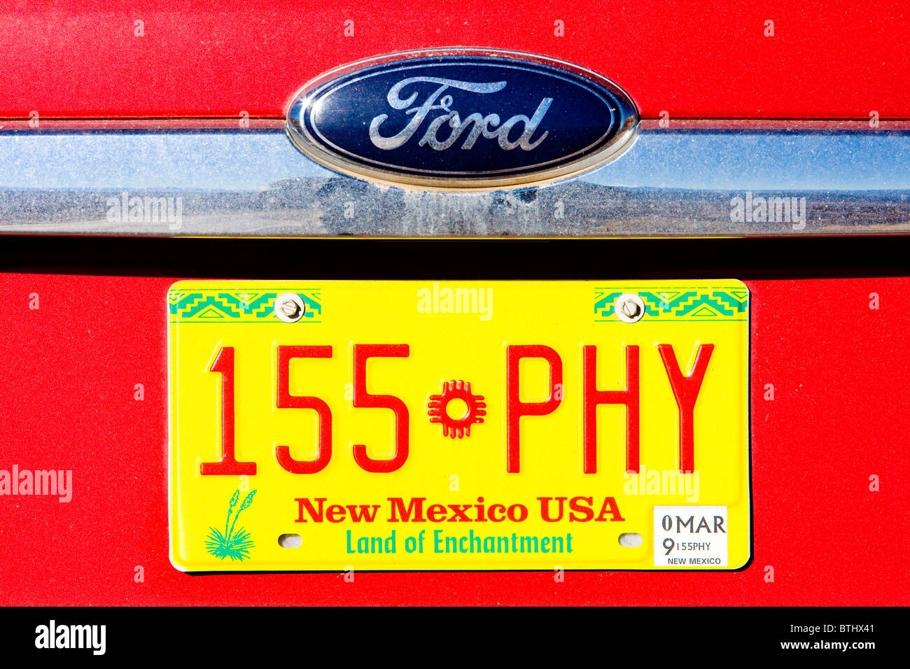 registration number, New Mexico, USA - Stock Image