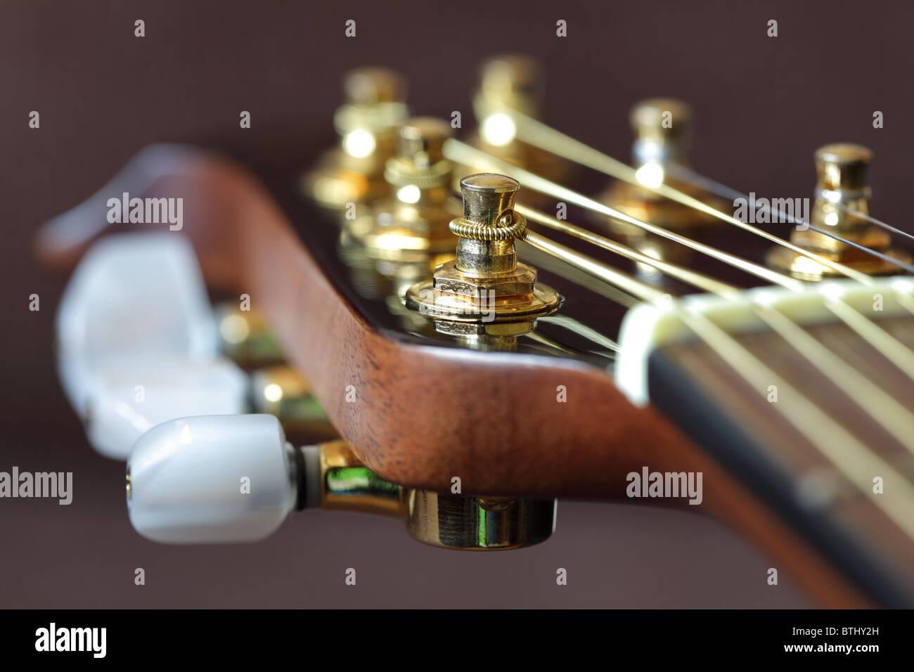 Acoustic guitar headstock - Stock Image
