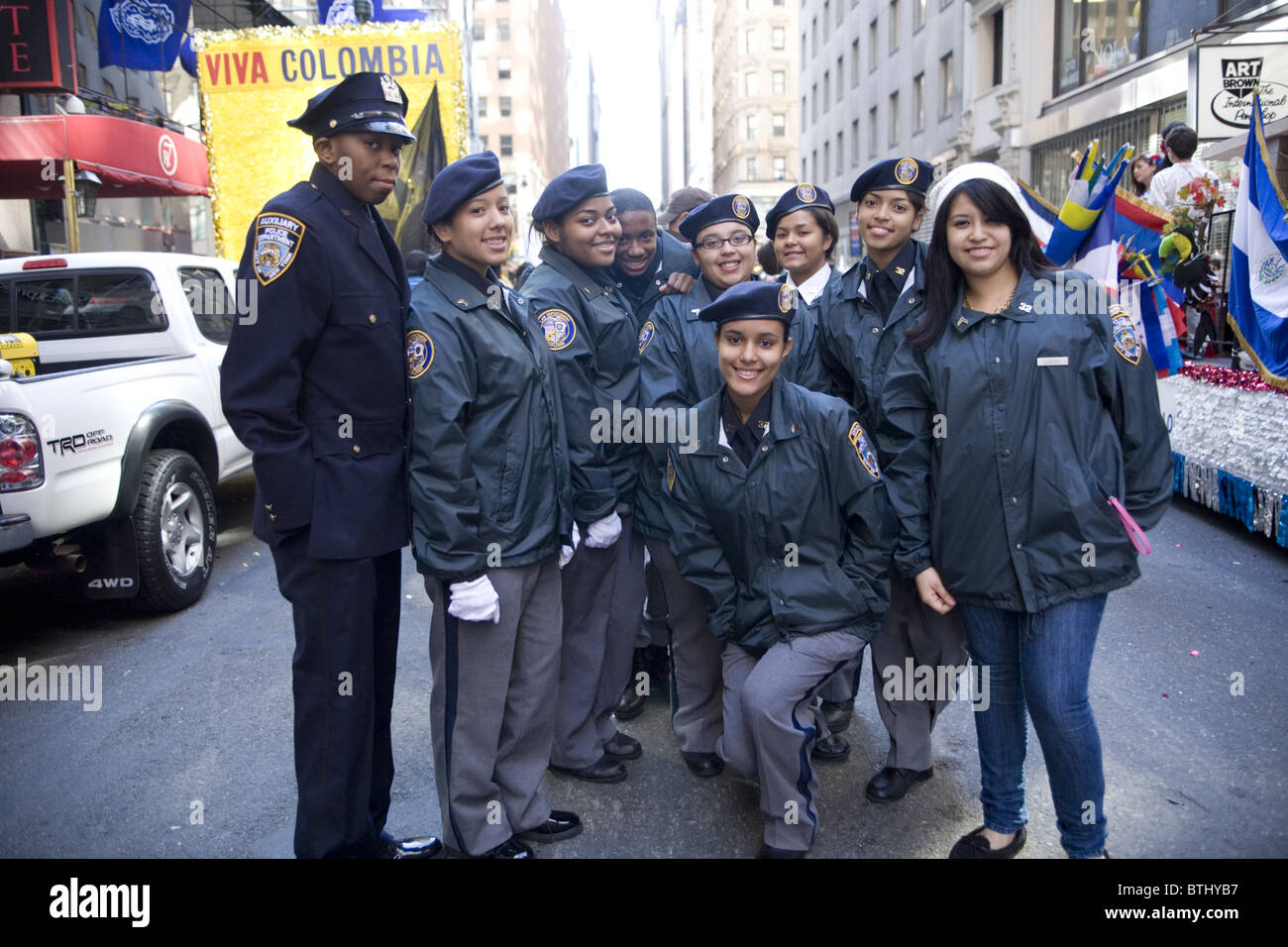 2010: Hispanic Parade, New York City. Police Explorers and auxiliary(Teenage group sponsored by the NYPD) - Stock Image