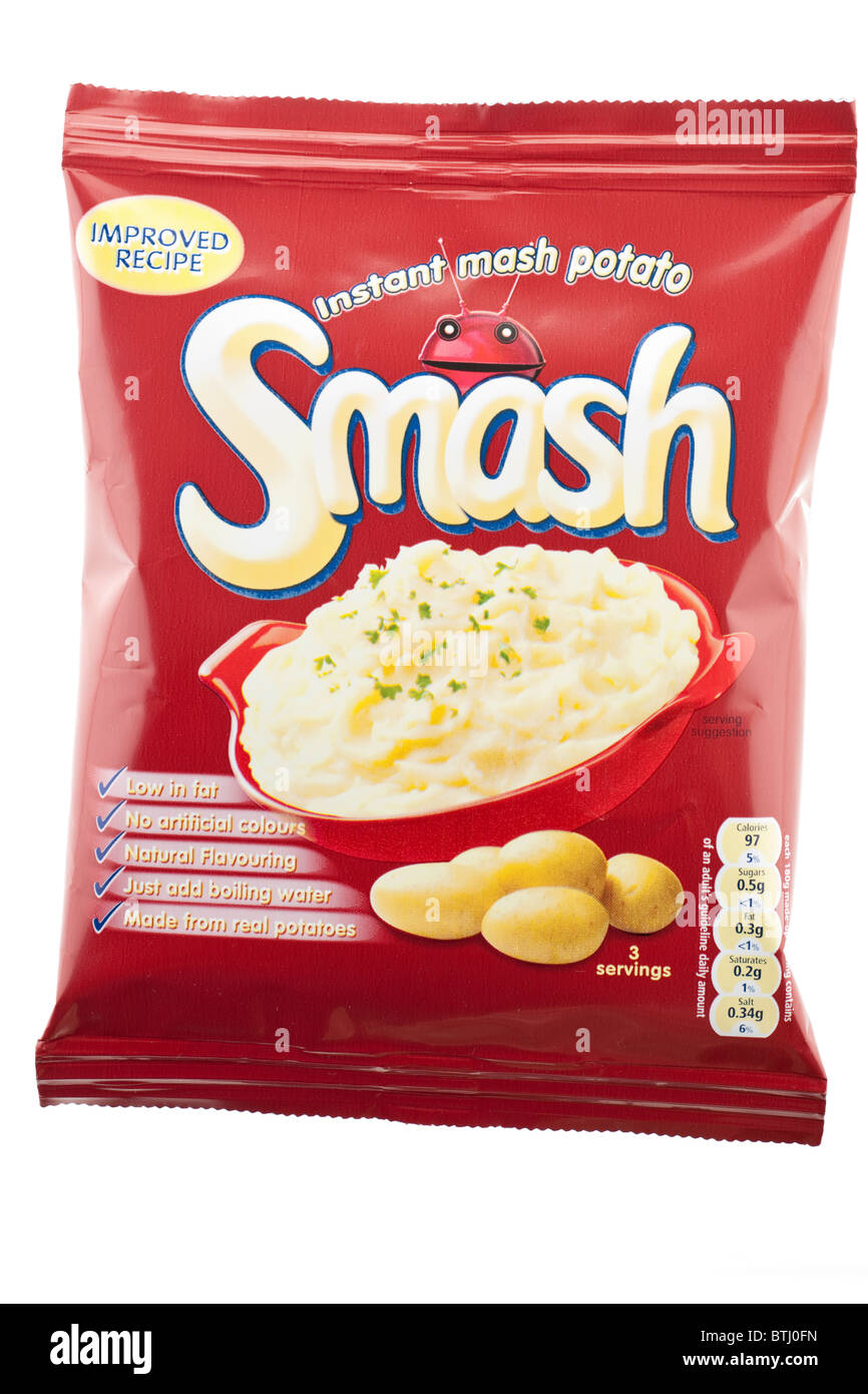 Three serving packet of Smash instant mash potato. - Stock Image