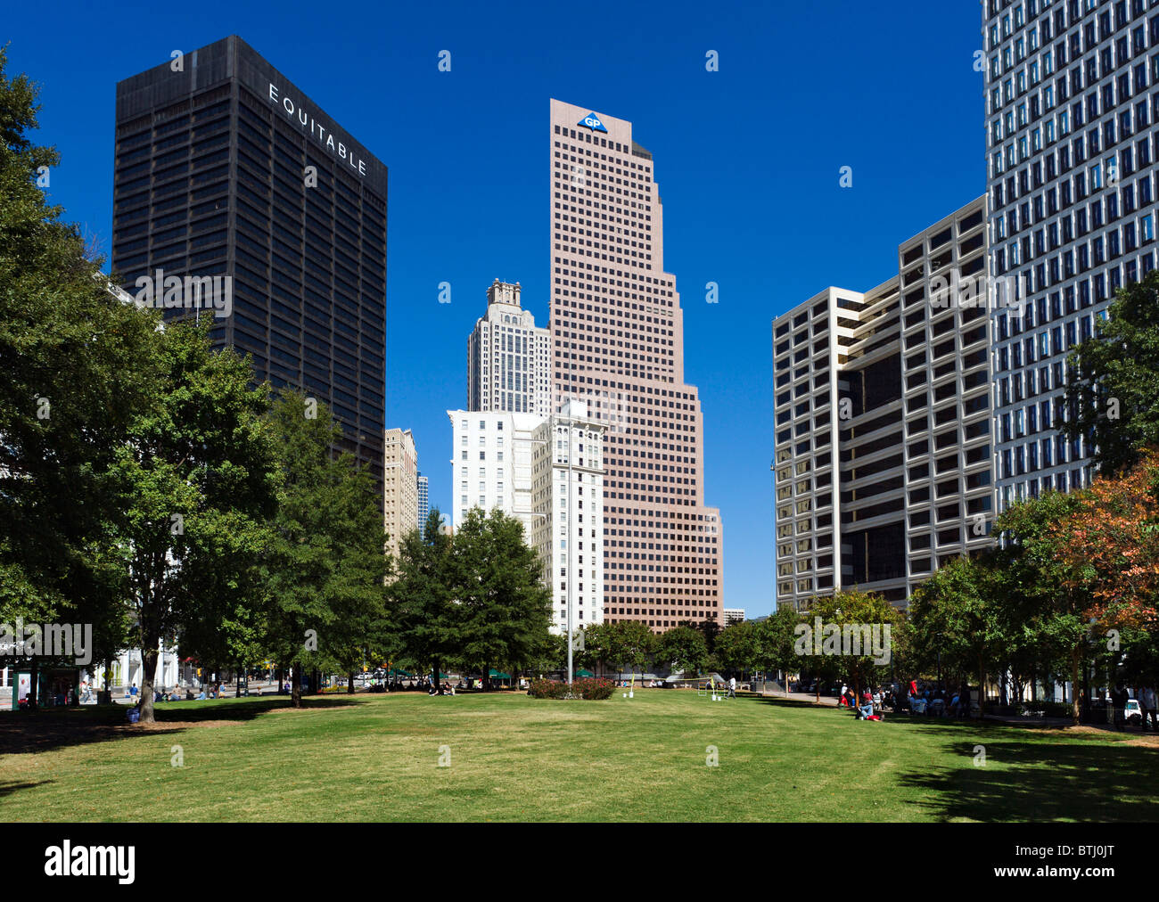 Woodruff Park, near Five Points, Downtown Atlanta, Georgia, USA - Stock Image