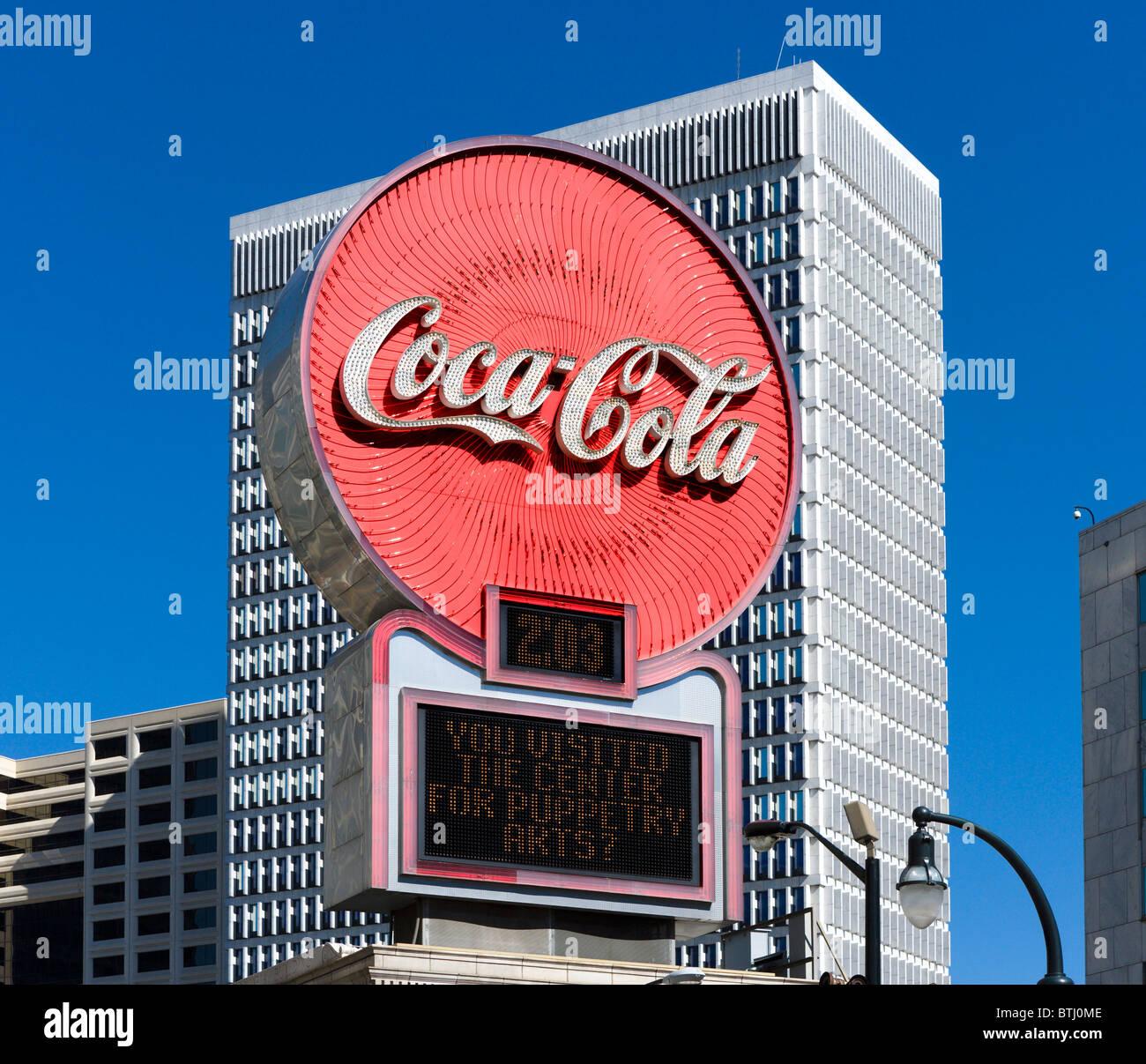 Coca Cola clock near Five Points, Peachtree Street, Downtown Atlanta, Georgia, USA - Stock Image