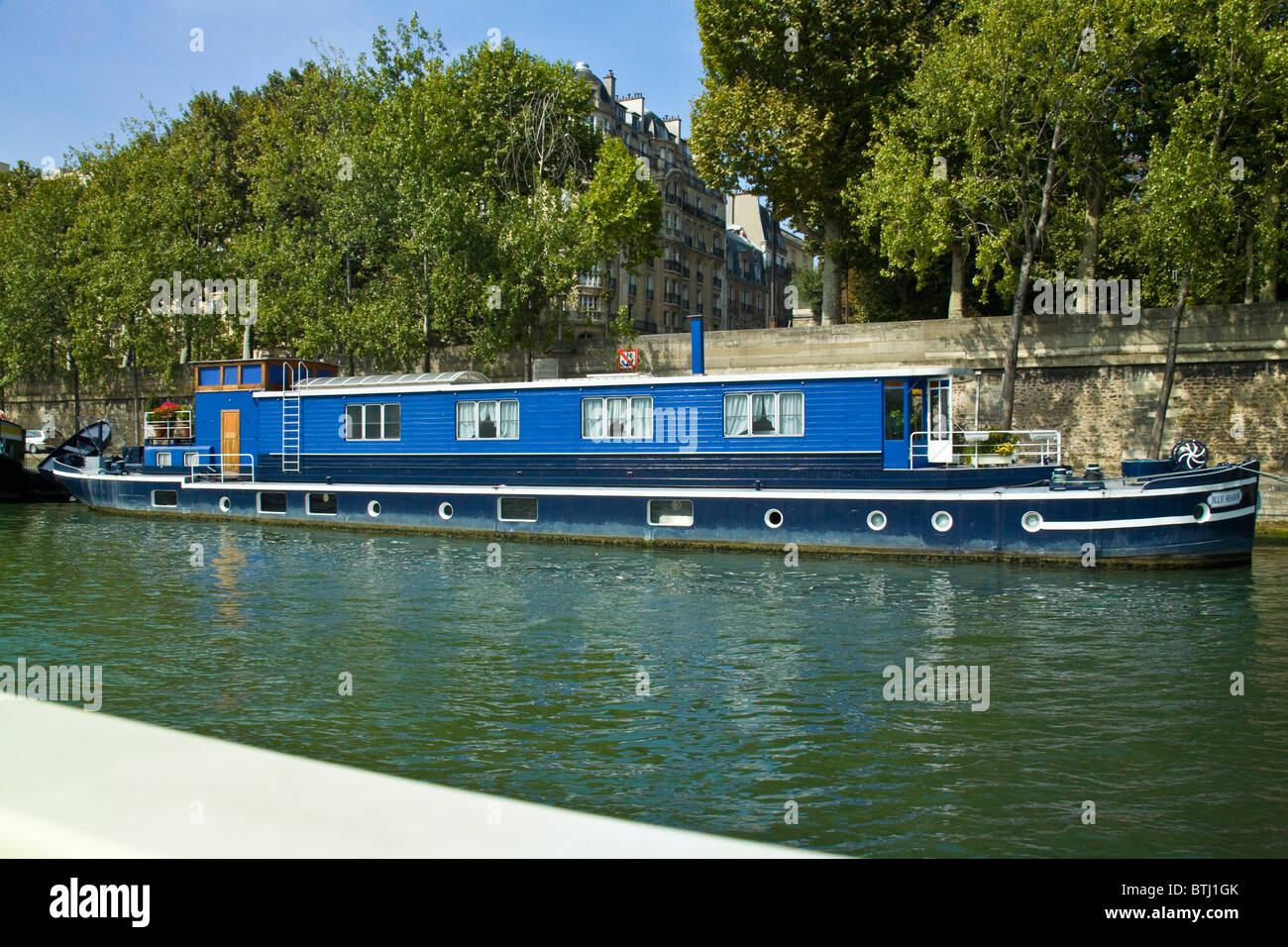 House Boat, River Seine, Paris, France - Stock Image