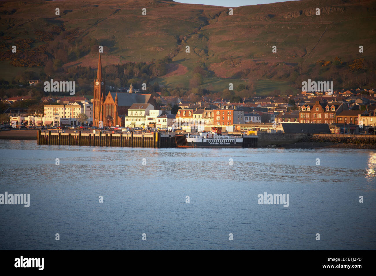 Views of Largs coastline from the ferry link between Largs and the Isle Of Cumbrae - Stock Image