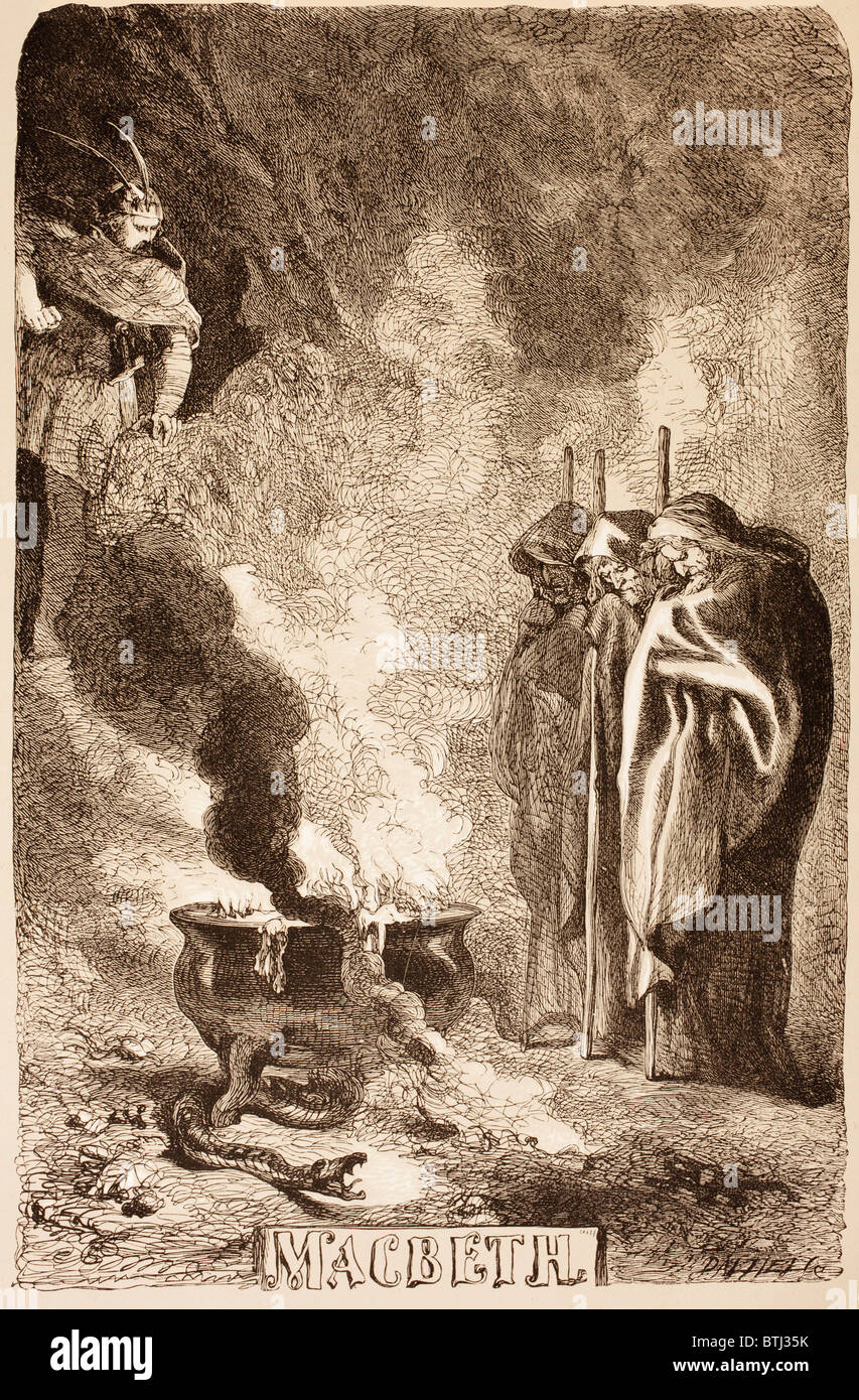 Illustration by Sir John Gilbert for Macbeth. of the witches around their cauldron. - Stock Image