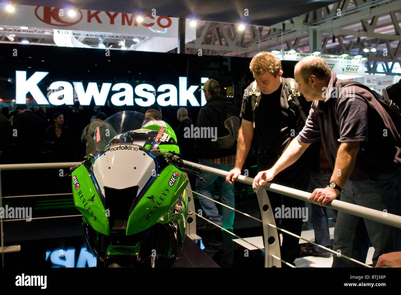 Kawasaki, Exibition bicycle and motorcycle, Milan 2010 - Stock Image