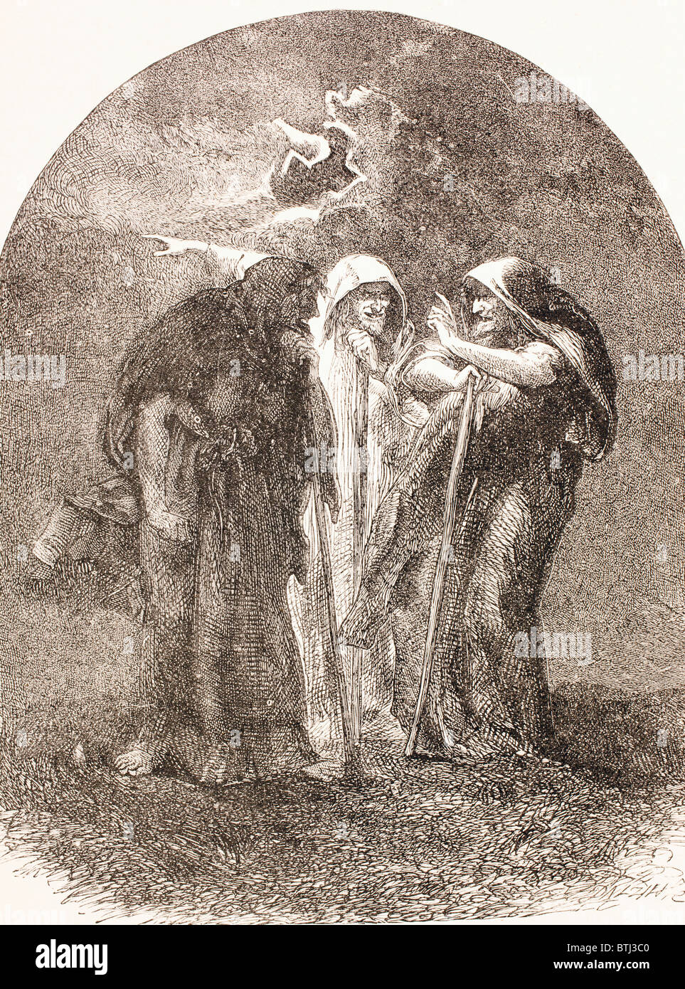 Illustration of the witches from Macbeth. - Stock Image