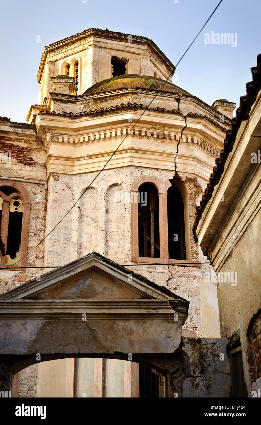 The abandoned Greek Orthodox cathedral in the main town of Cunda Island, near Ayvalik, Turkey. - Stock Image