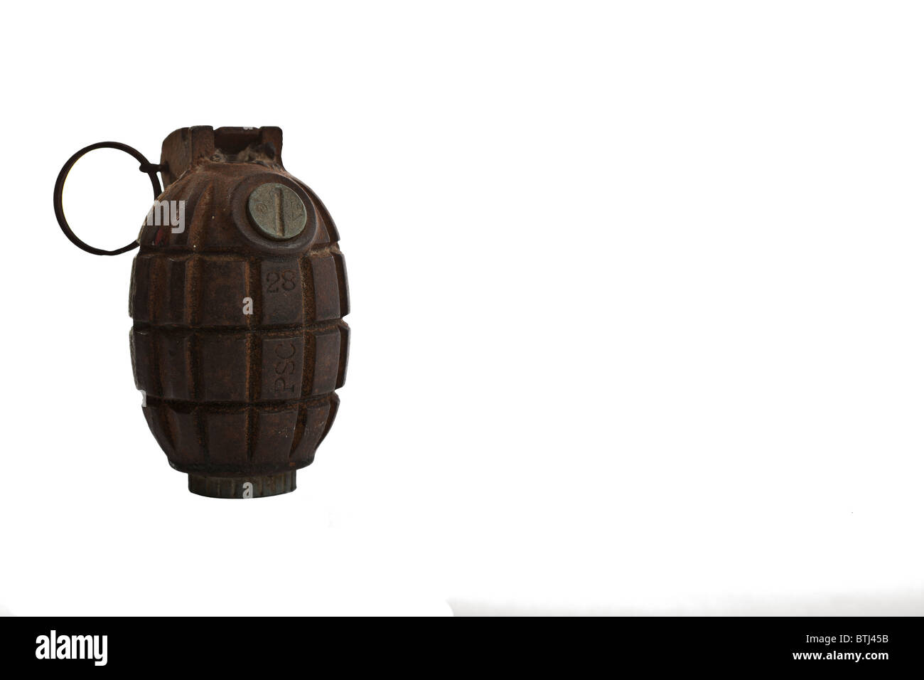 An authentic antique No. 36M MkI Mills Bomb or as most commonly know, hand grenade, from 1940 - Stock Image
