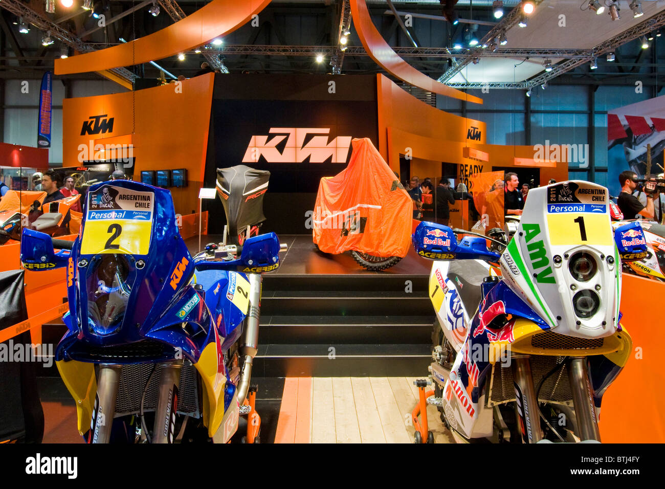 KTM, Exibition bicycle and motorcycle, Milan 2010 - Stock Image