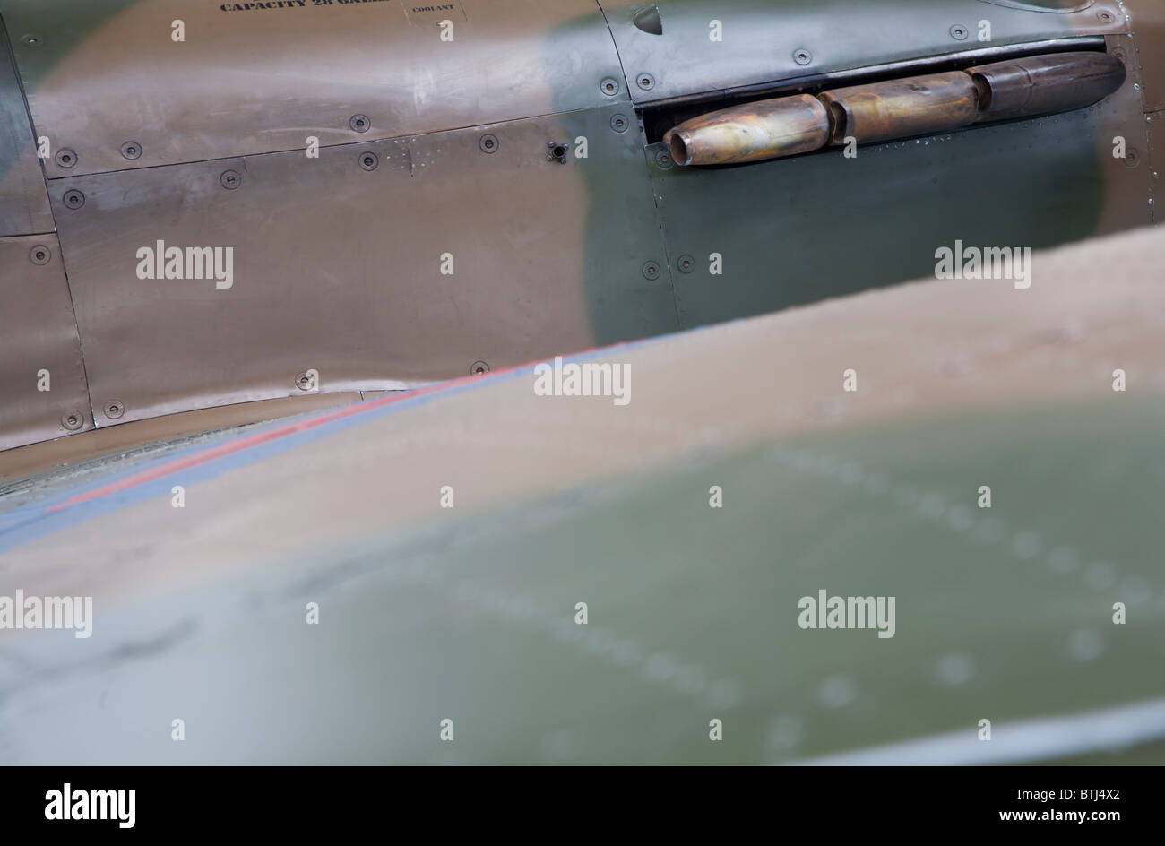 Abstract photograph of the fabric of a WW2 Hurricane fighter. A possible background for text. - Stock Image