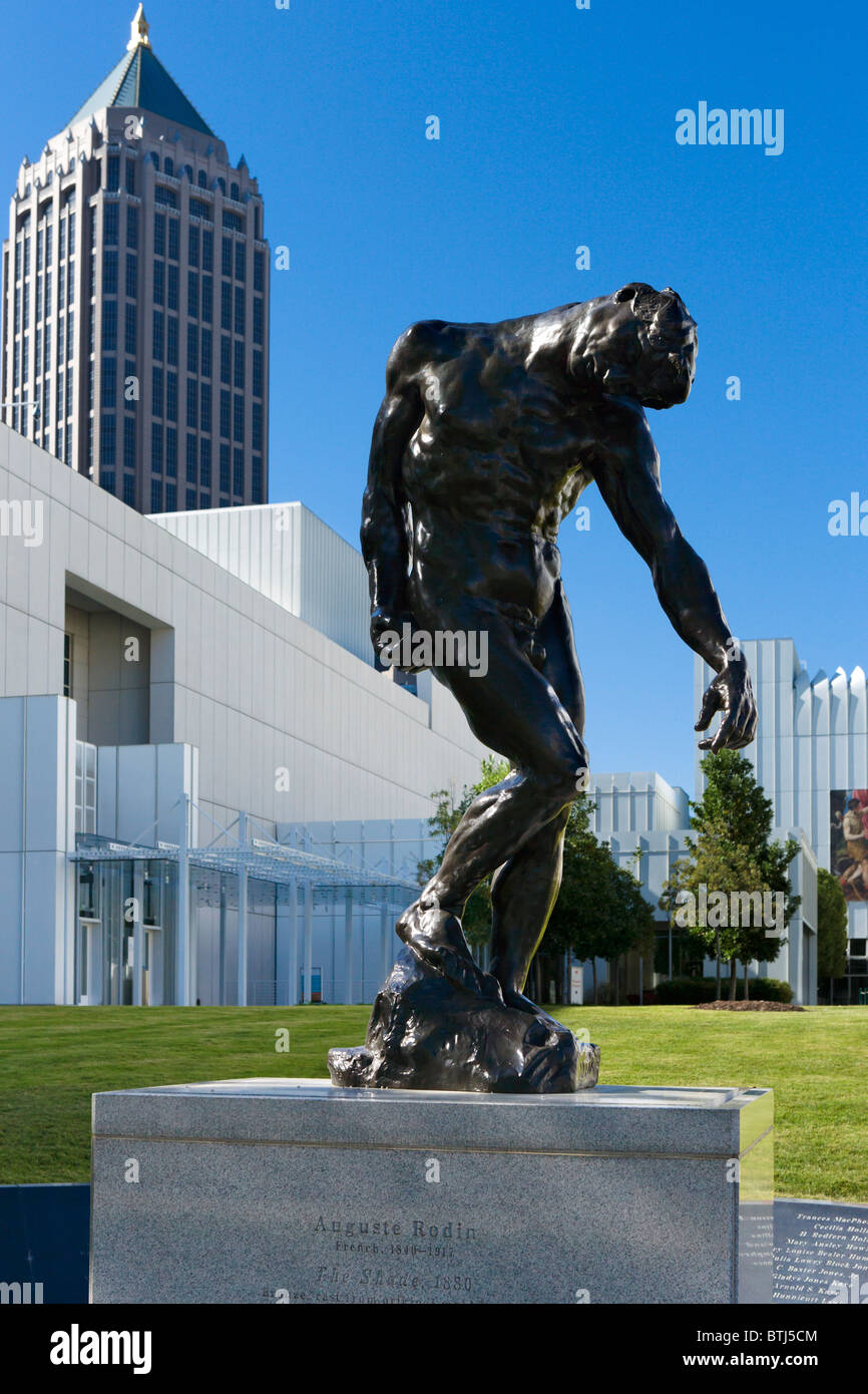 Auguste Rodin's sculpture 'The Shade' in front of the High Museum of Art, Woodruff Arts Center, Midtown - Stock Image