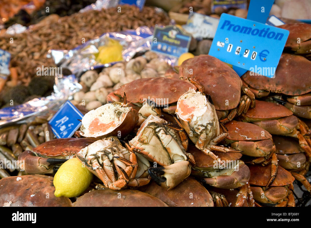 Crabs on a fish stall in the French market town of Coulommiers near Paris,  ile de france France - Stock Image