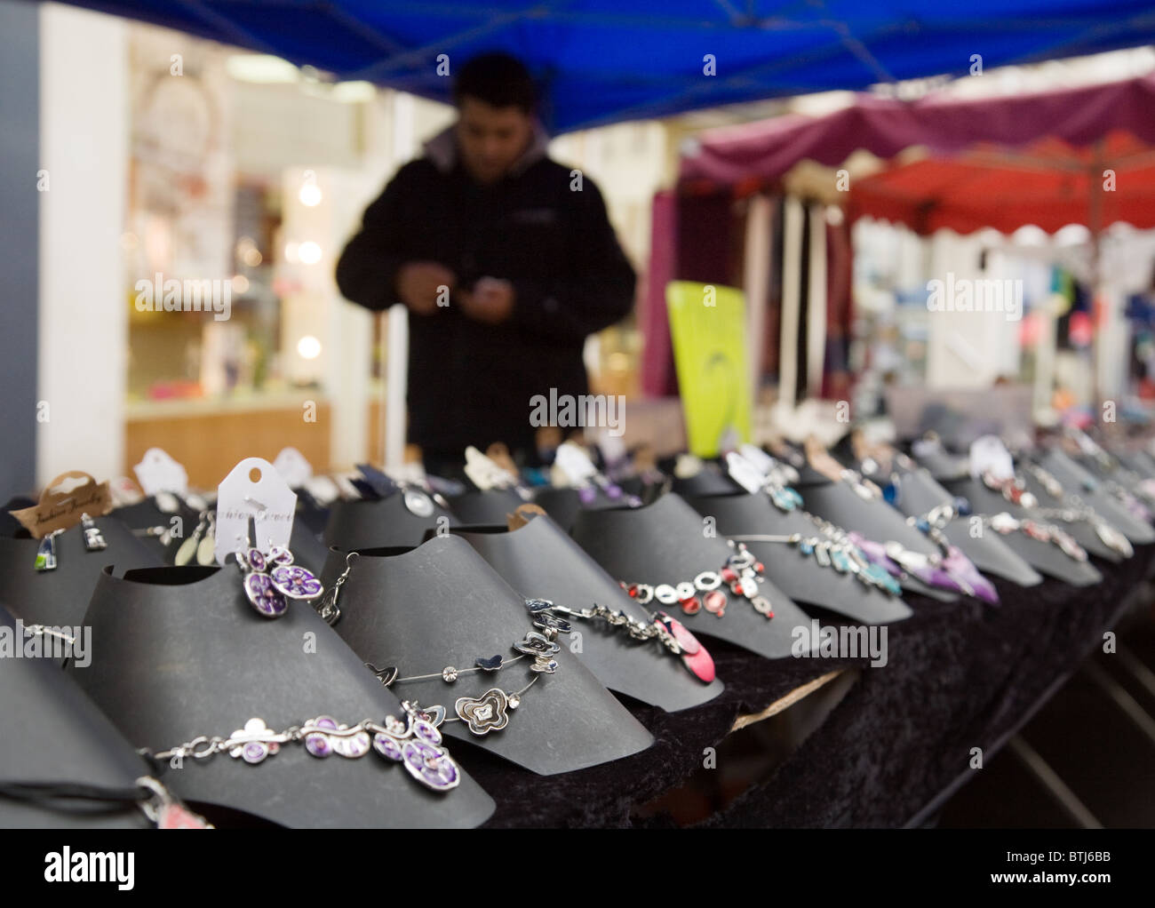 Jewellery stall, the market town of Coulommiers near Paris,  ile de france France - Stock Image