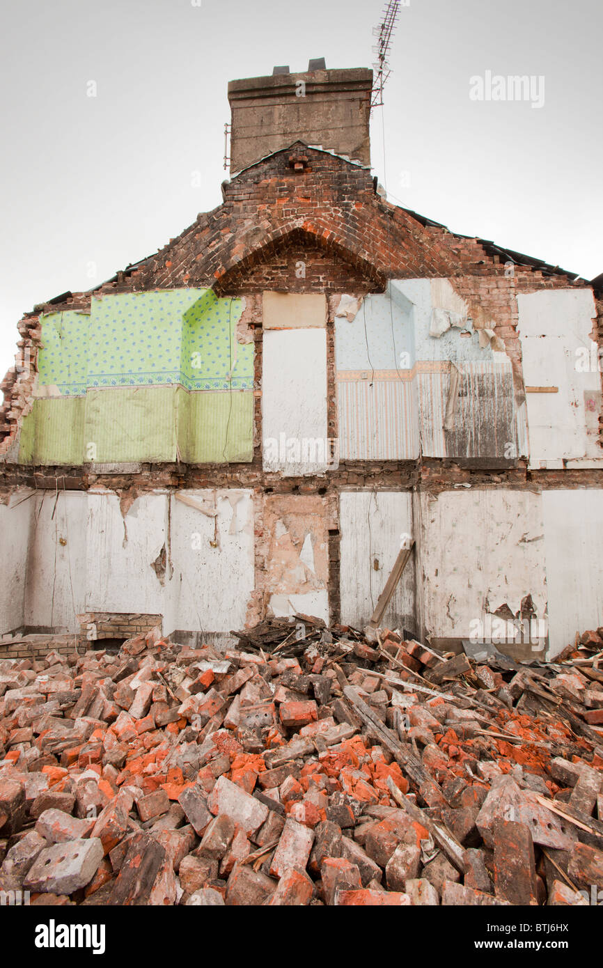 Condemned houses in Barrow in Furness, Cumbria, UK, that are being demolished. - Stock Image