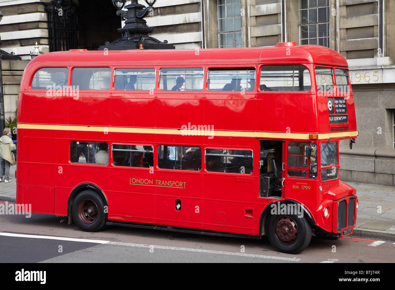Old Routemaster double-decker bus (1963), London, England, United Kingdom - Stock Image