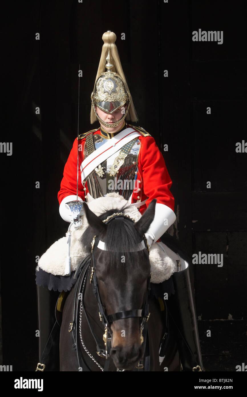 British Household Cavalry (Life Guards Regiment), Horse Guards, Whitehall, London, England, United Kingdom - Stock Image