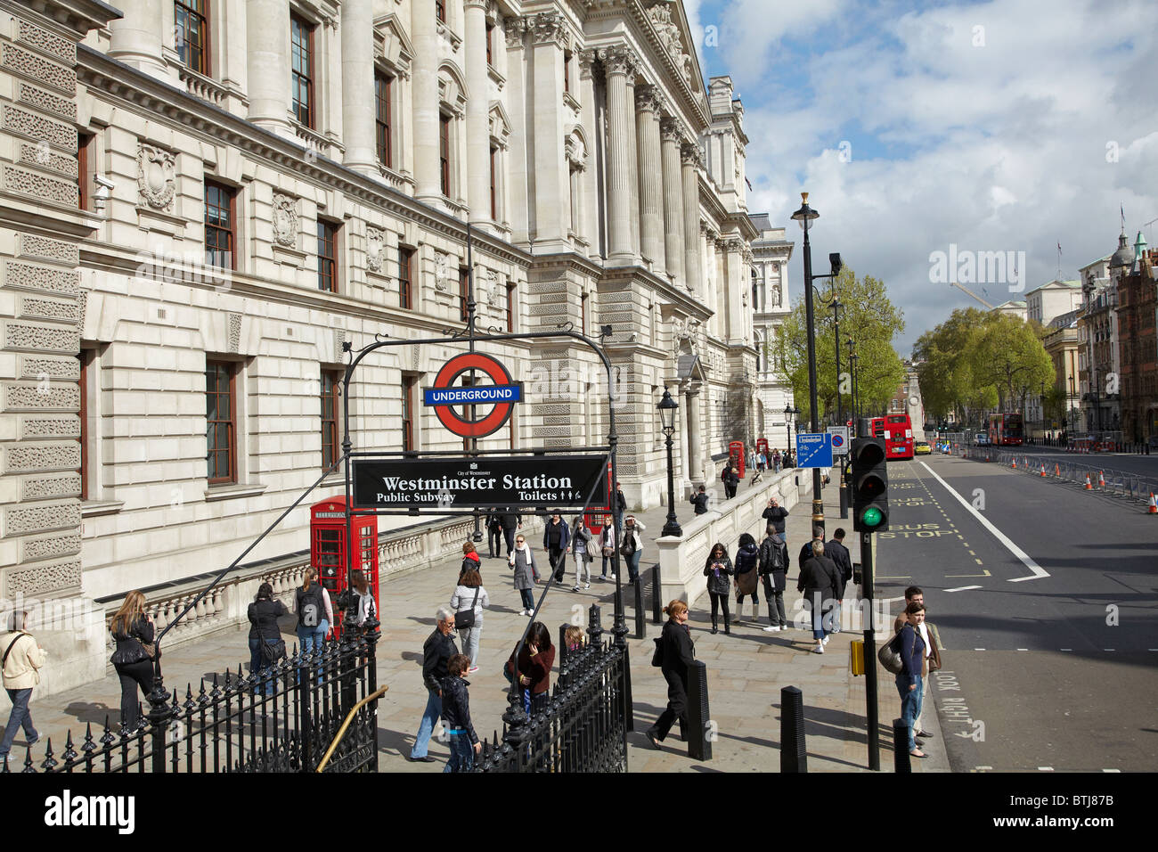 Parliament Street, and entrance to Westminster Underground Station, London, England, United Kingdom - Stock Image