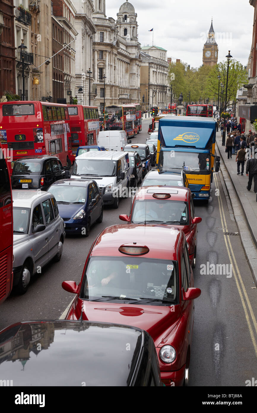 Traffic jam, Whitehall, London, England, United Kingdom - Stock Image