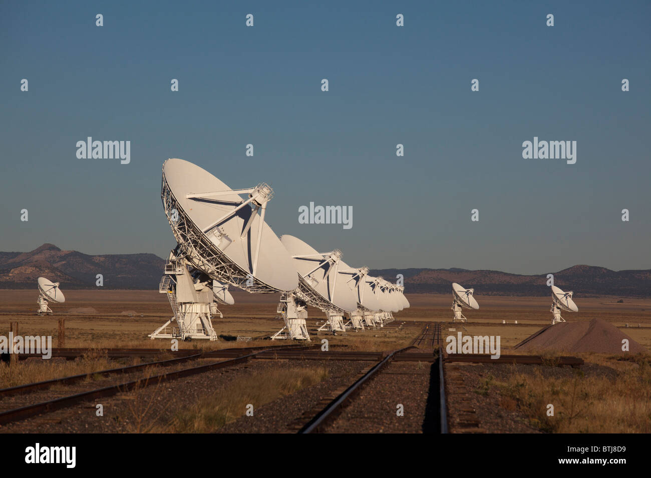 The Very Large Array radio telescope, part of the National Radio Astronomy Observatory - Stock Image