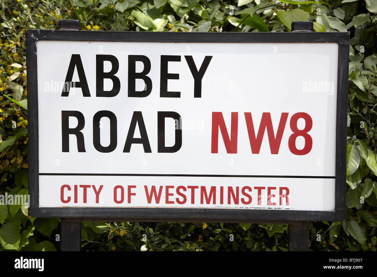 Abbey Road Sign, London, England, United Kingdom Stock Photo