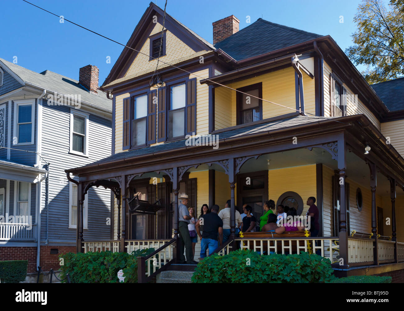 Martin Luther King Birth Home, 501 Auburn Avenue, Martin Luther King Jnr National Historic Site, Atlanta, Georgia, - Stock Image