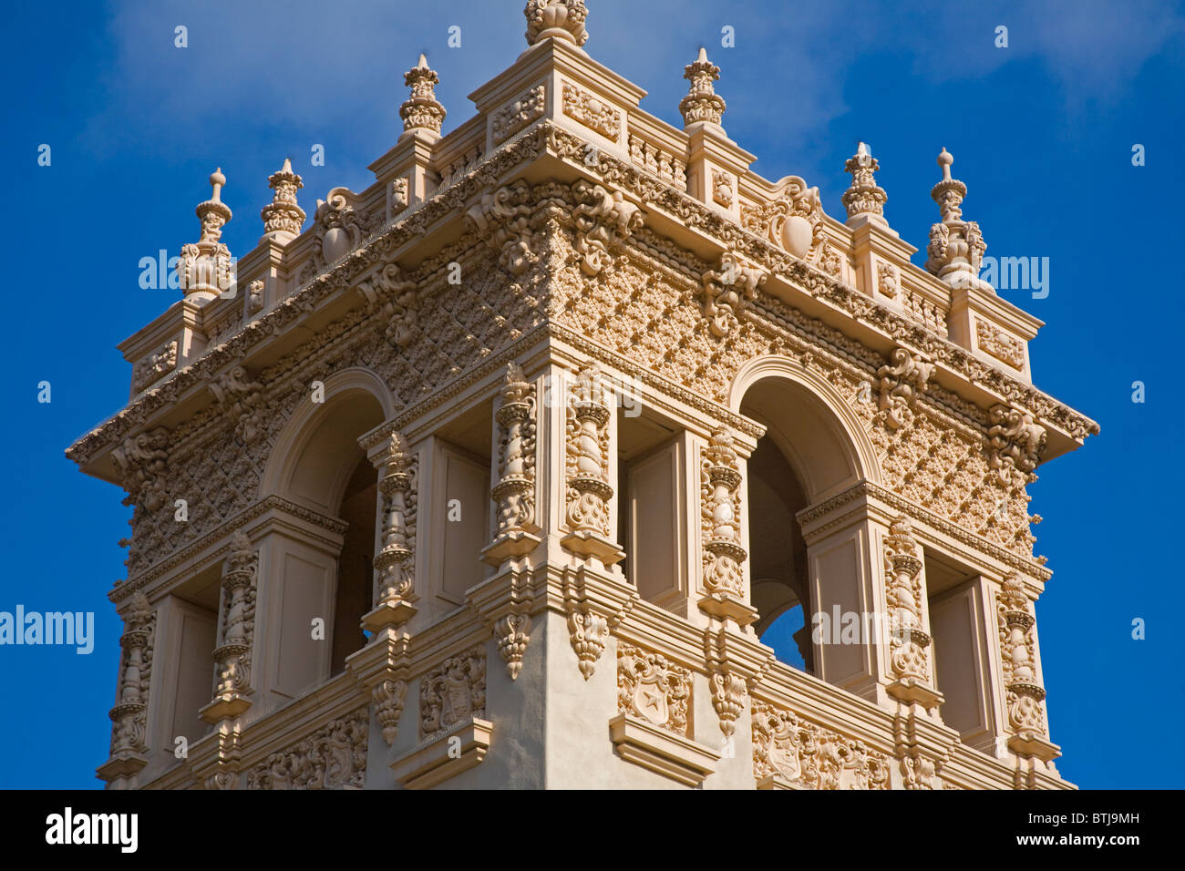 The elaborate tower of the HOUSE OF HOSPITALITY located in BALBOA PARK - SAN DIEGO, CALIFORNIA - Stock Image