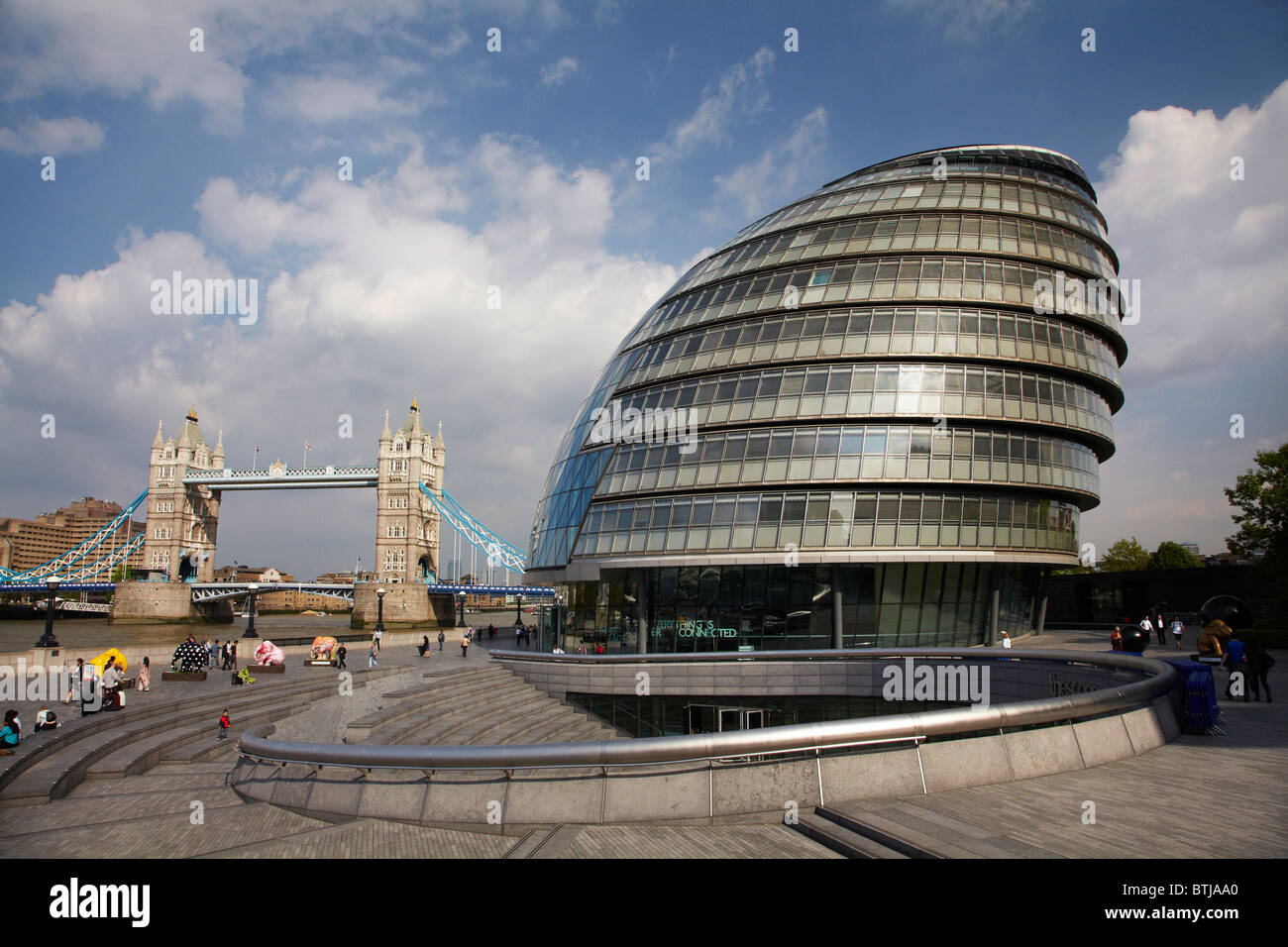 Tower Bridge, and Greater London Authority, City Hall Building, London, England, United Kingdom - Stock Image