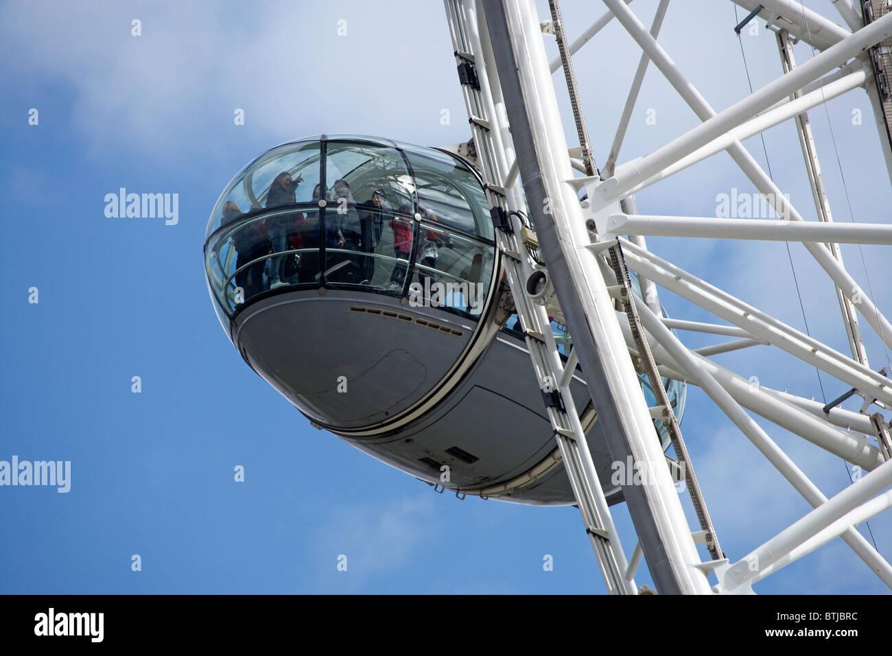Passenger capsule on London Eye, London, England, United Kingdom - Stock Image