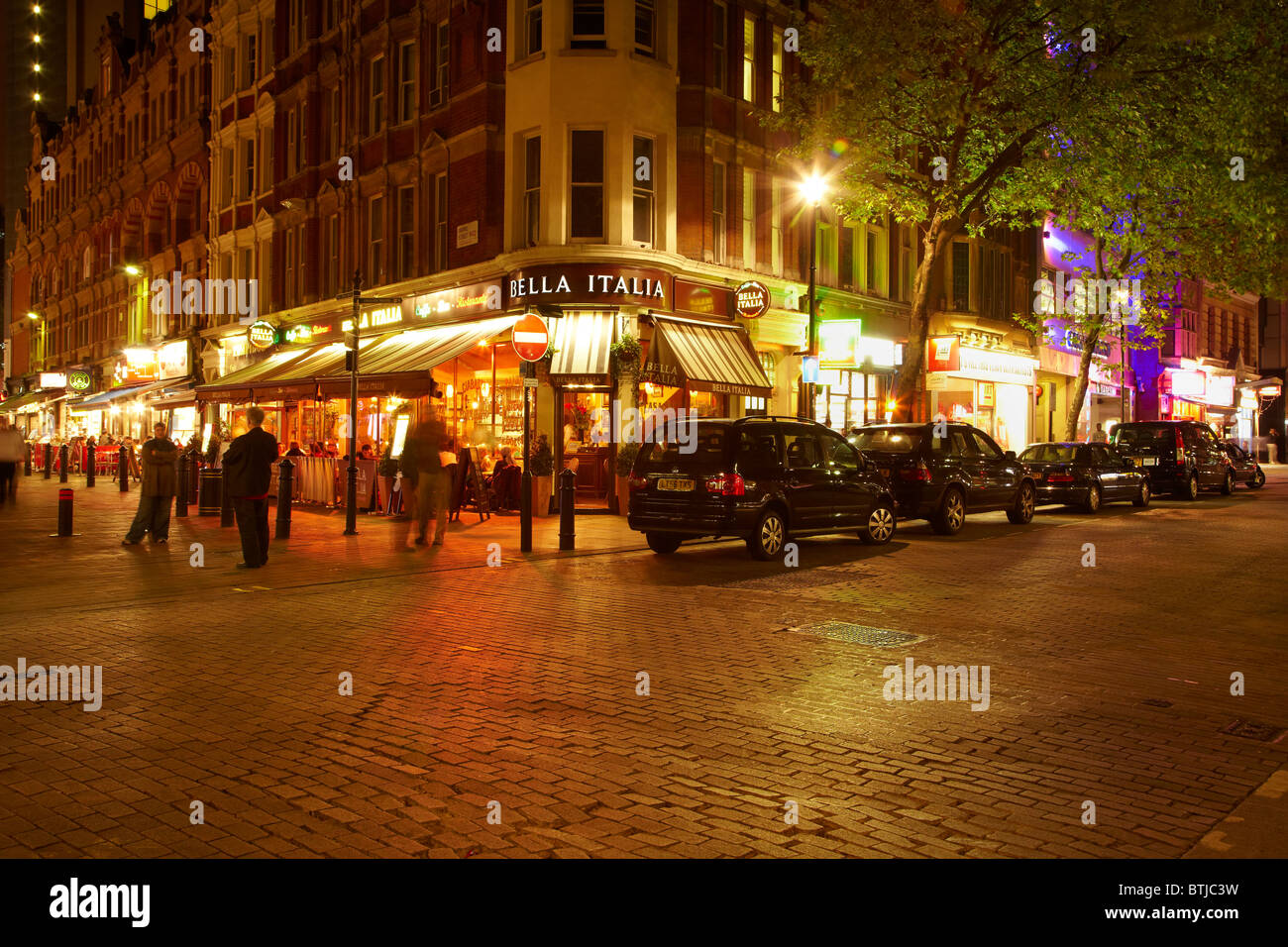 Night-life, cafes and restaurants, Irving Street and Charing Cross Road, near Leicester Square, London, England, - Stock Image