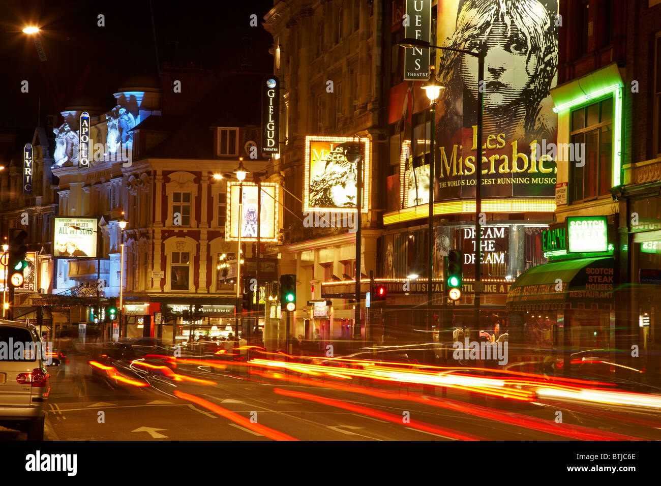 West End Theatres (Queen's, Gielgud, Apollo, and Lyric), Shaftesbury Avenue, Soho, London, England, United Kingdom - Stock Image