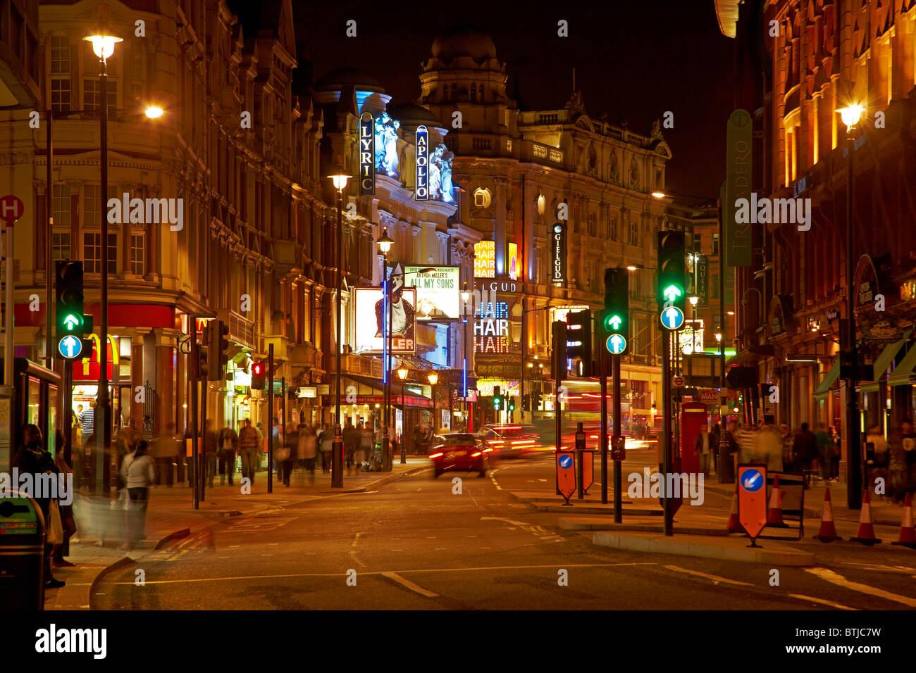 West End Theatres (Lyric, Apollo, and Gielgud), Shaftesbury Avenue, Soho, London, England, United Kingdom - Stock Image