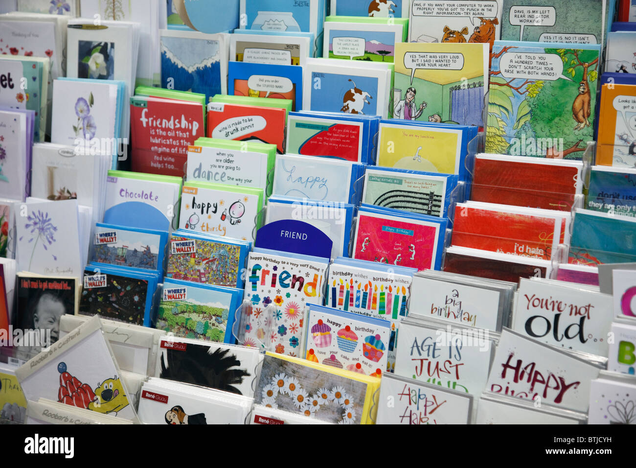 Greeting card display stock photos greeting card display stock birthday cards for sale on a display stand inside a card shop uk europe m4hsunfo
