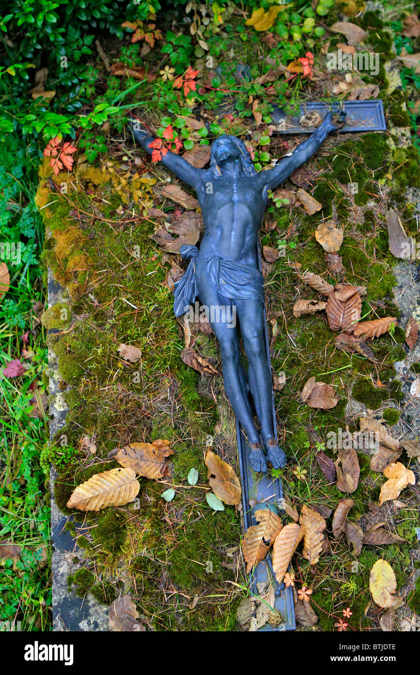 Grave in a cemetery on All Saints Stock Photo