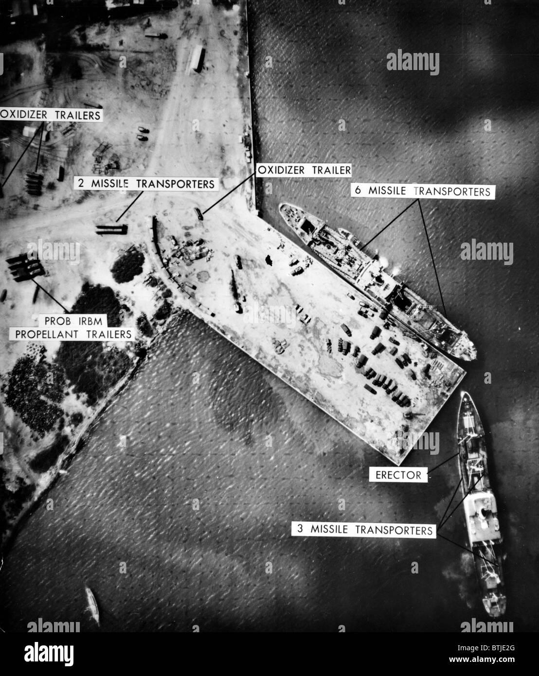 Cuban Missile Crisis: U.S. reconnaissance photo of Soviet missile site at Mariel Naval Port, Cuba, November 8, 1962 Stock Photo