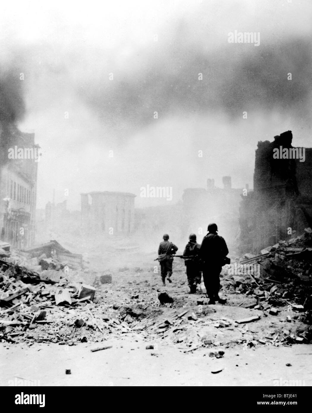 D-Day, Allied Soldiers after the Normandy Invasion, 1944 - Stock Image