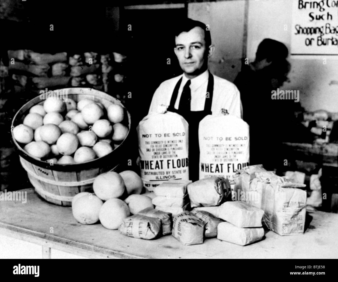 Great Depression: food to relieve famine bought and redistributed by the FSCC (Federal Surplus Commodities Corporation). - Stock Image