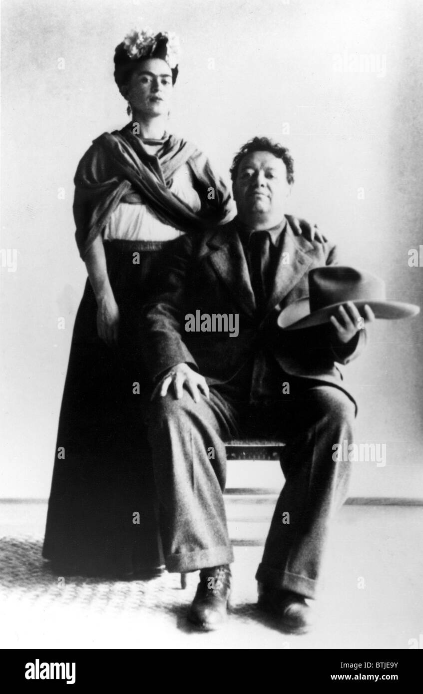 Mexican artists frida kahlo with her husband diego rivera undated stock image