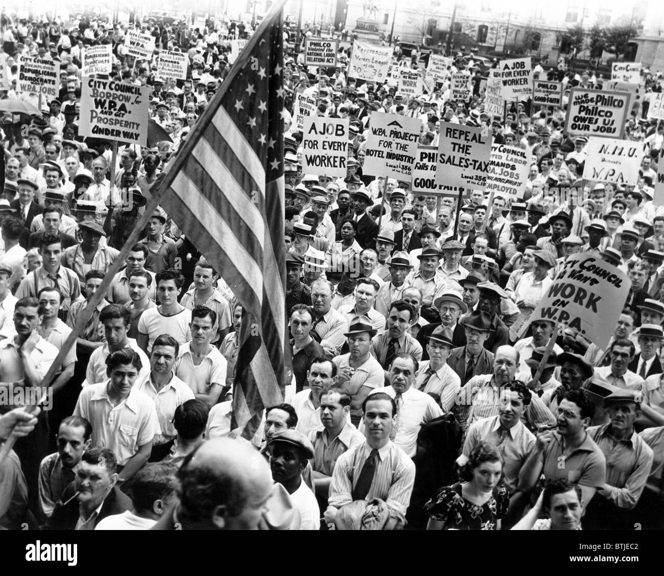 Great Depression, Rally to demand WPA Funds in Philadelphia (Rayburn Plaza), July 1938 - Stock Image