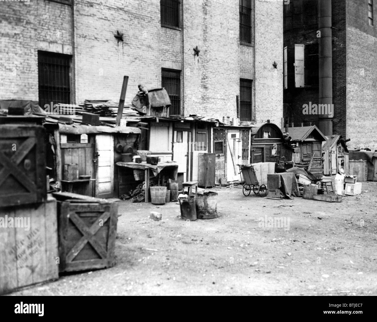 Great Depression, Shantytown at West Houston Street, New York City, N.Y., December 1934 - Stock Image