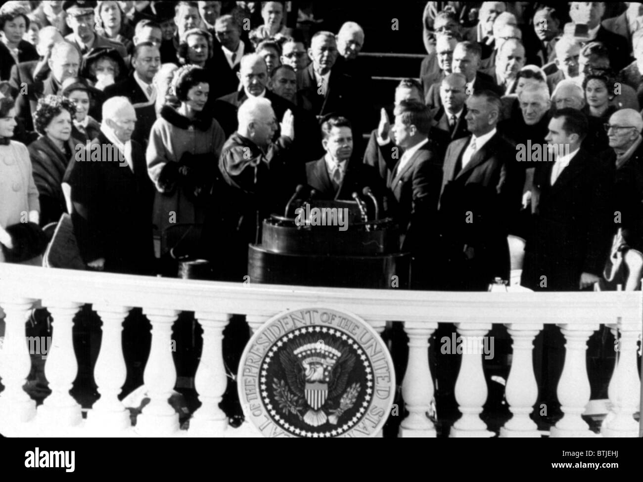 John F. Kennedy being sworn in as president, 1960, CSU Archives - Stock Image