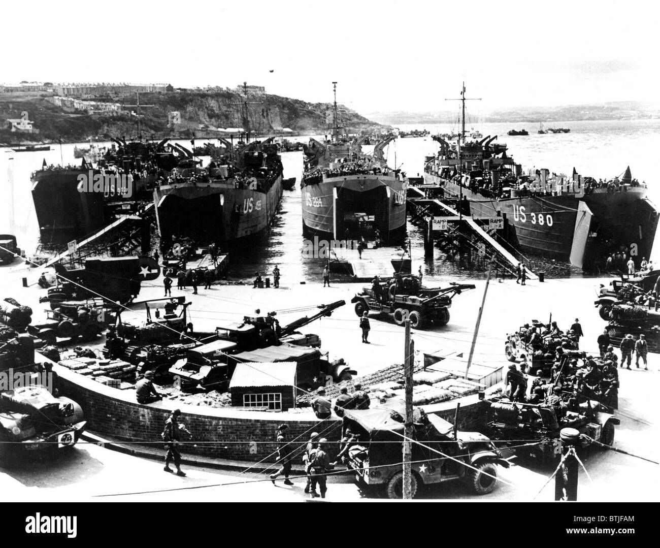 NORMANDY, scene near American embarkation part in Plymouth, England, as landing barges were being loaded for the - Stock Image
