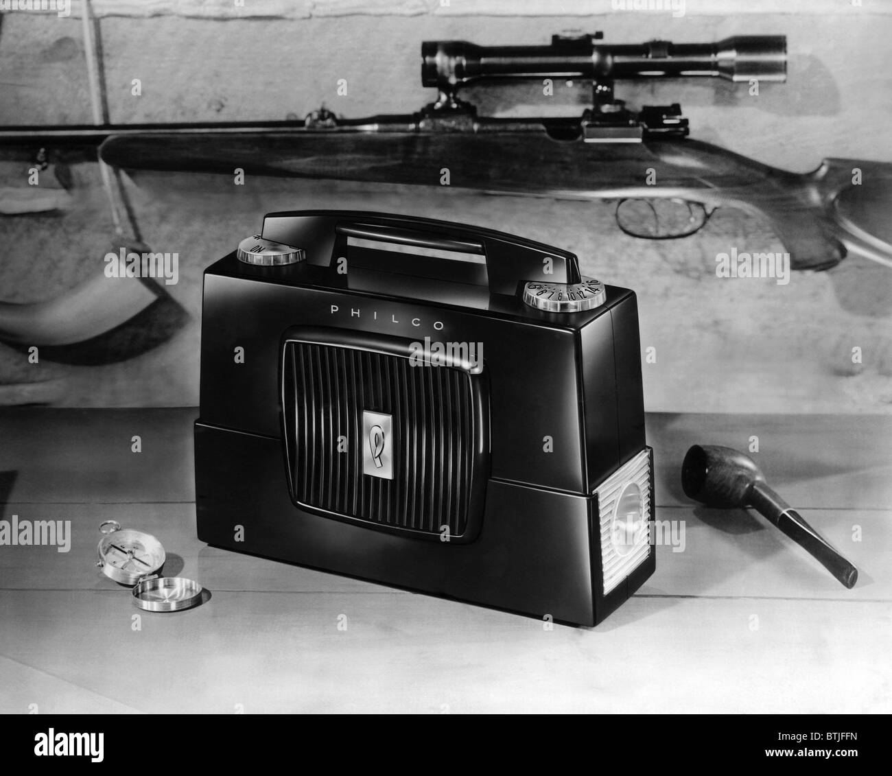 A portable transistor radio, c. 1954. - Stock Image