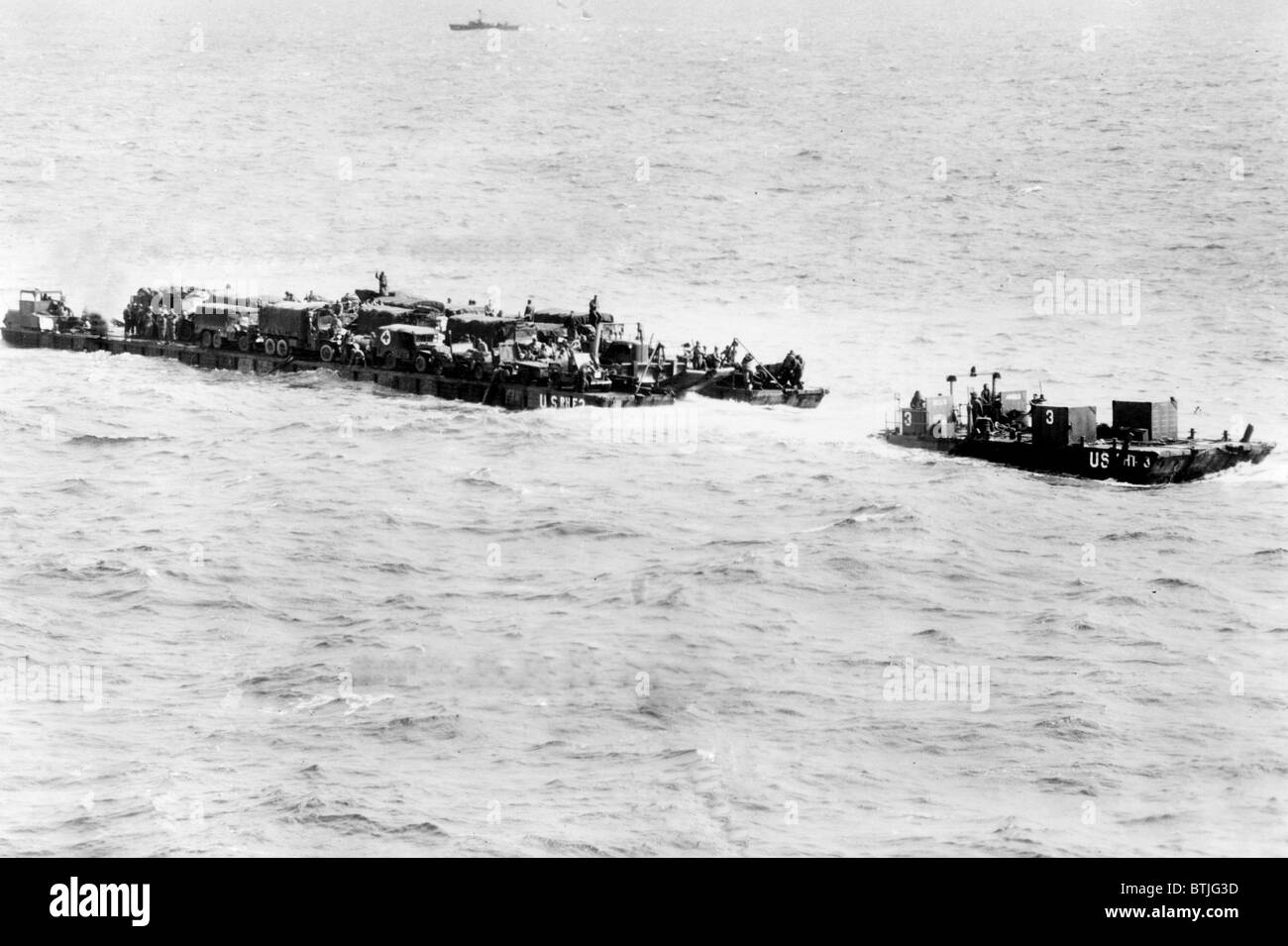WORLD WAR II, in France, ships have difficulty crossing the English channel on invasion day. - Stock Image