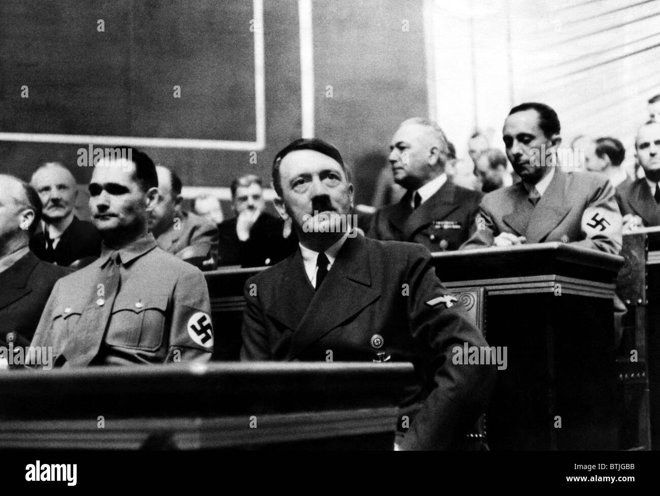 Rudolf Hess and Adolf Hitler during the Reichstag session at which Hitler gave his last warning to the British Empire. - Stock Image