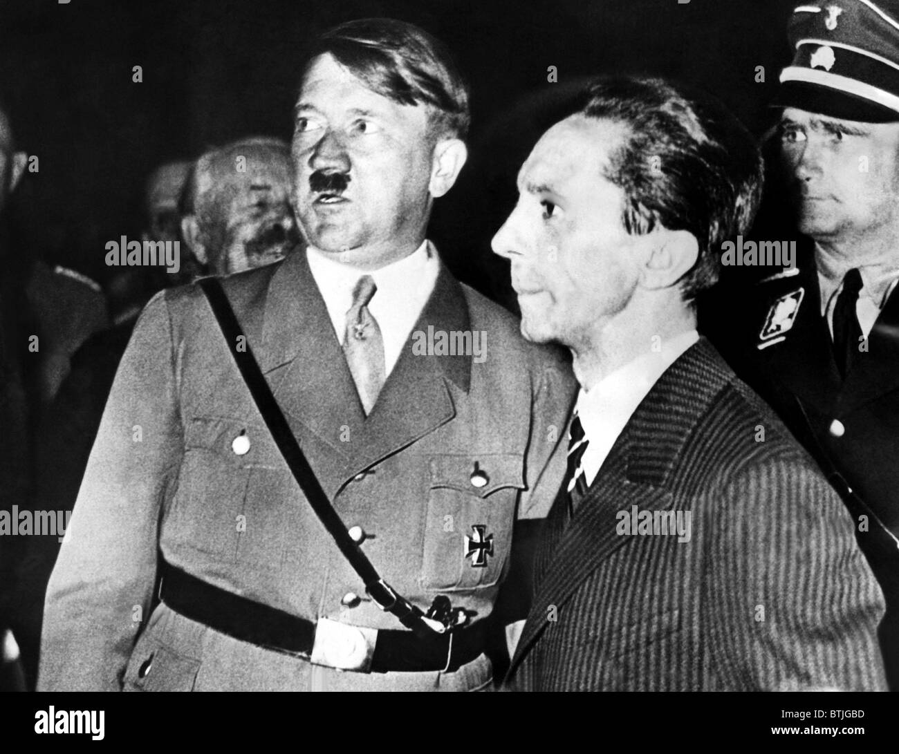Adolf Hitler and Dr.Joseph Goebbels as they appeared at one of the 50 rallys held as part of the Nazi Election Campagin. - Stock Image