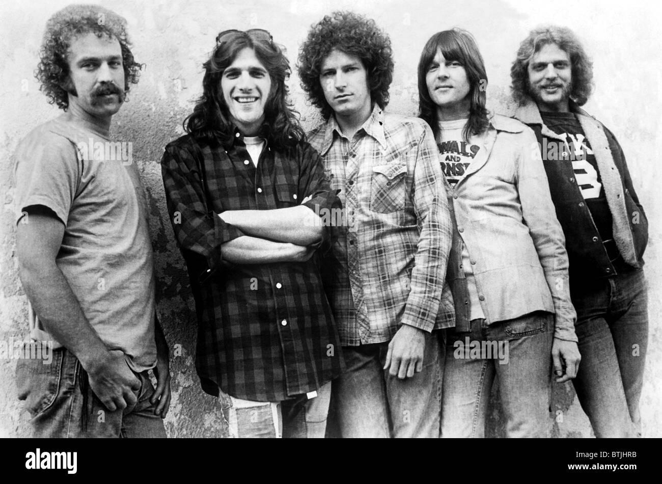 The Eagles, l to r: Bernie Leadon, Glenn Frey, Don Henley, Randy Meisner, Don Felder, ca. early 1970s. Courtesy: - Stock Image