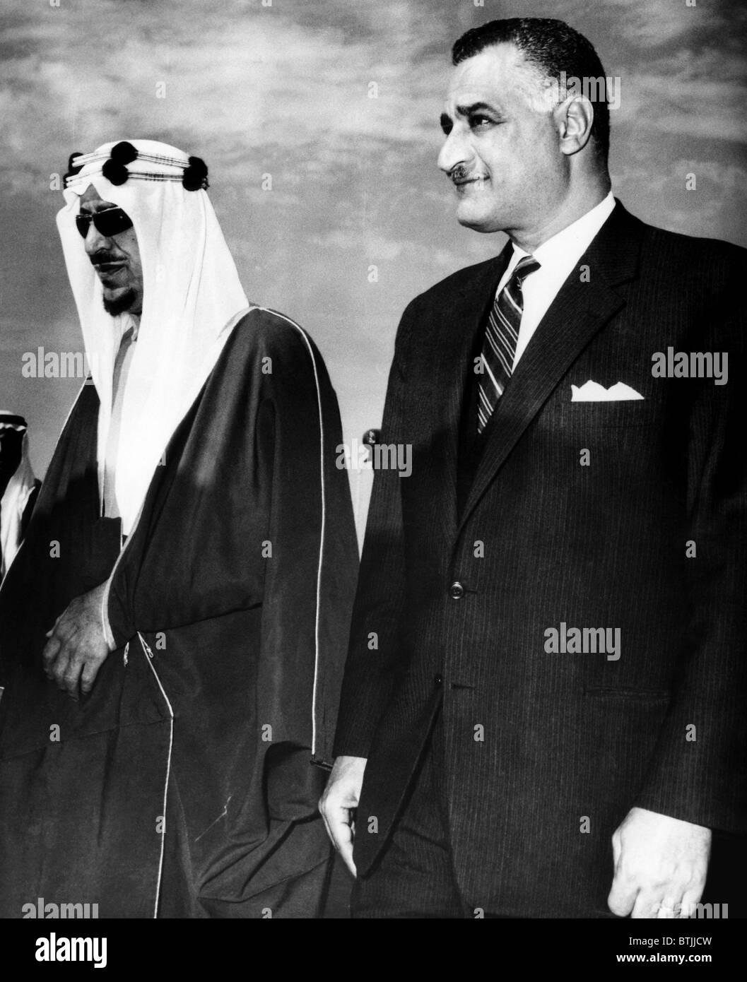 King Saud of Saudi Arabia, President of the United Arab Republic Gamal Abdel Nasser, meeting in Cairo, Egypt, 1964. - Stock Image