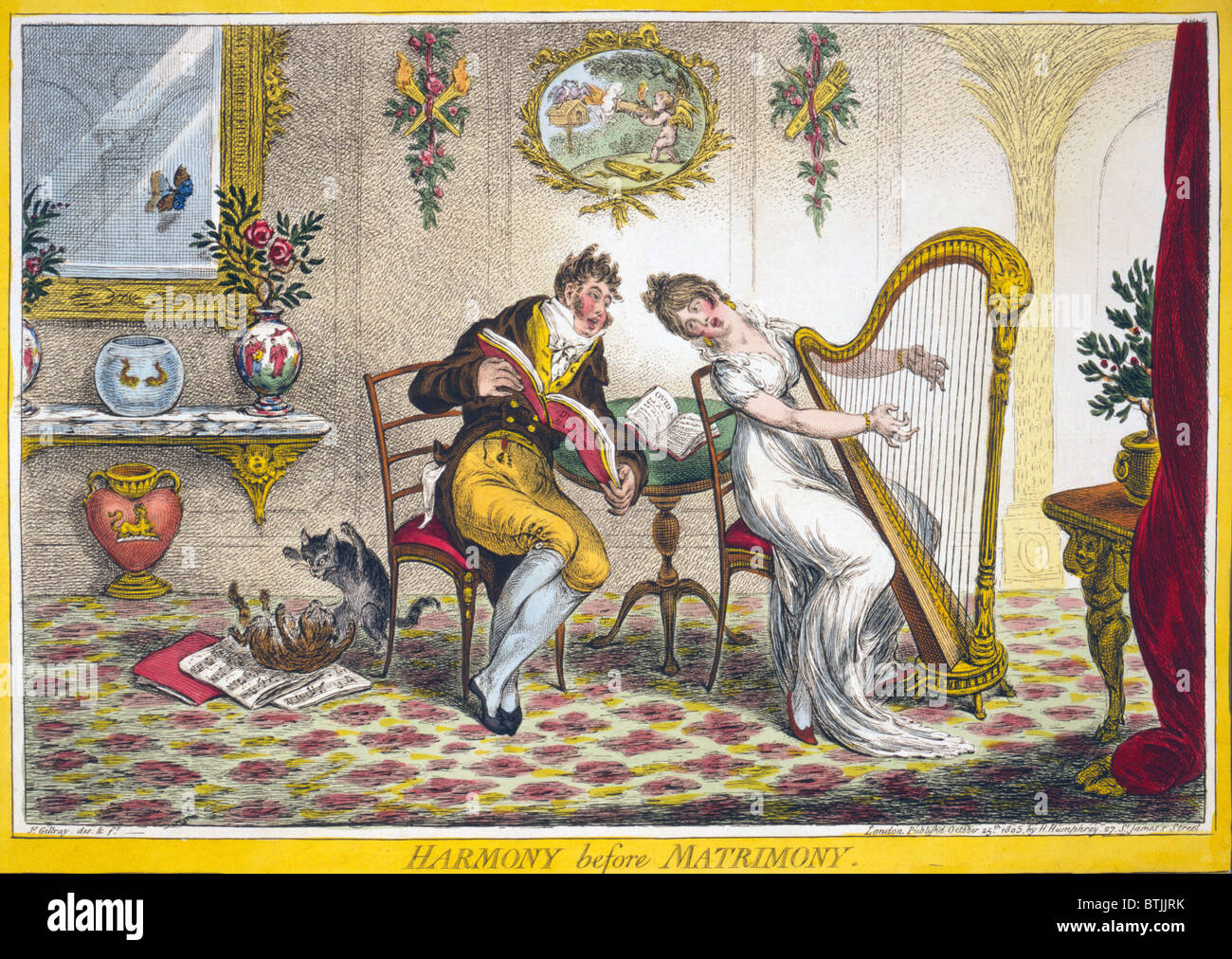 Harmony before Matrimony. A young woman and a fashionably dressed young man singing a duet. The woman plays a harp - Stock Image